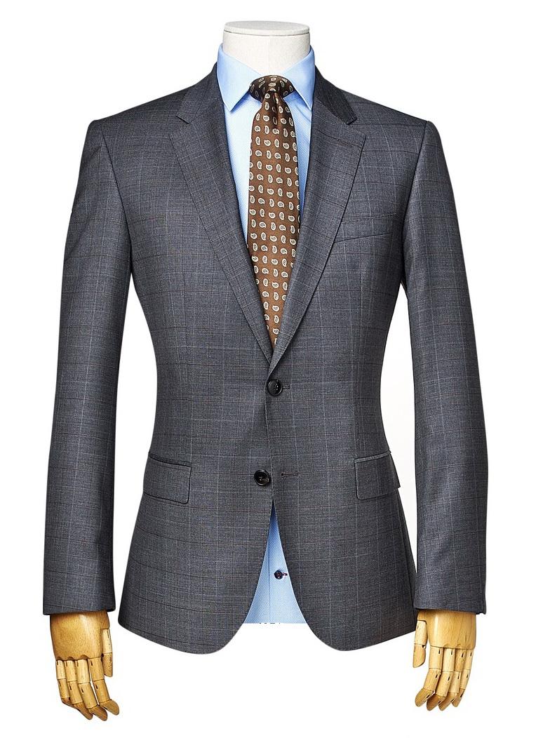 szary męski garnitur w kratę